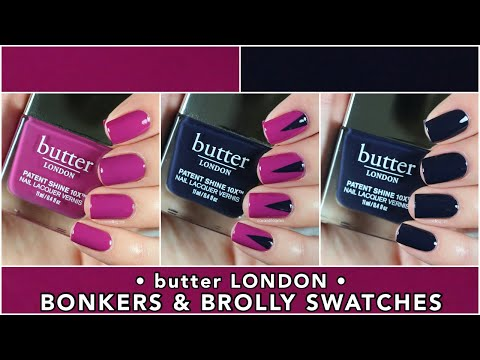 butter LONDON Bonkers & Brolly Swatches || New Fall Patent Shine 10X Laquers || caramellogram