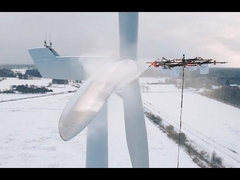 Watch a giant industrial drone de-ice a huge wind turbine