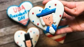 🇺🇸🧐 USA President's Day Sugar Cookies - How To Make Sugar Cookies- Cookie Art with Royal Icing