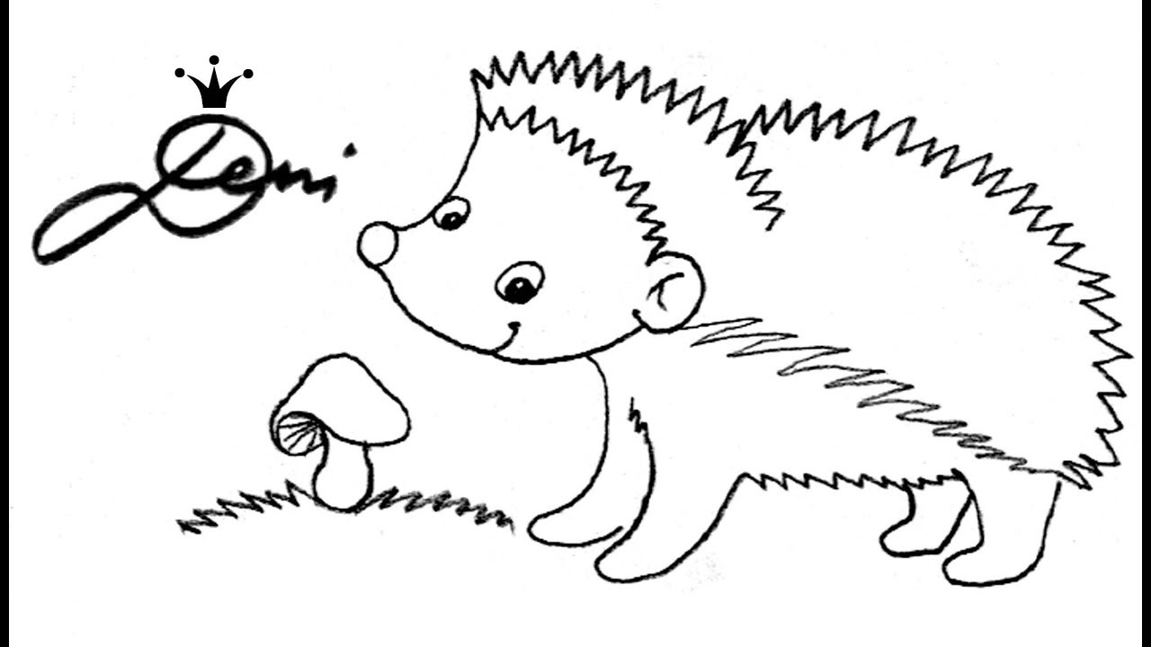 Igel schnell zeichnen lernen für Kinder ♥ How to draw a hedgehog for  children ♥ таралеж