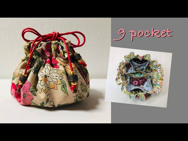 DIY 巾着バッグ トラベルアクセサリーポーチ 仕切りポケット travel jewelry pouch 9pockets