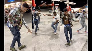 Blueface Crip Walk Battles Homies At Gas Station