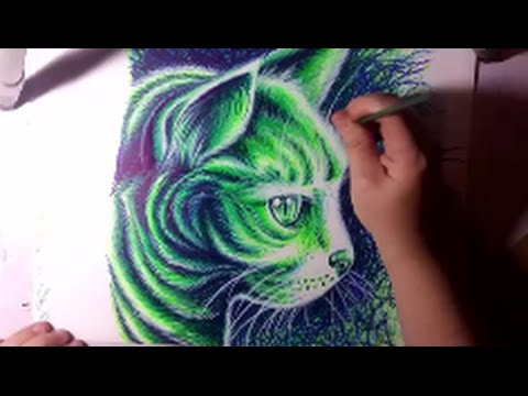 Drawing a Kitty Cat With Neon Sharpie Markers - Timelapse Drawing Video by Carissa Rose