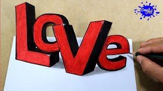 How to draw love 3D letters /Como dibujar love 3D/como hacer una tarjeta.