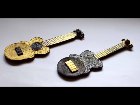 Quilled Miniature Guitar/ Quilled Guitar/ Quilled Instrument