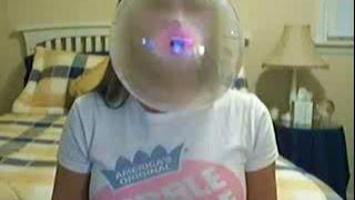 dubble bubble beauty blowing bubbles in her room