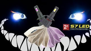 LED H7 лампы в ближний свет (светодиоды) установка в фары, распаковка. 6000 К