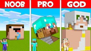 Minecraft NOOB vs PRO vs GOD: HEAD BLOCK HOUSE BUILD CHALLENGE! (Animation)