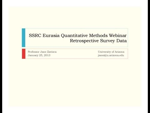 SSRC Eurasia Program Webinar Series: Retrospective Survey Data