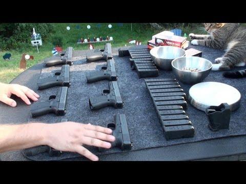 Todas las Pistolas Glock de Calibre 9 y 40, en Español. Armas en el Campo de Tiro