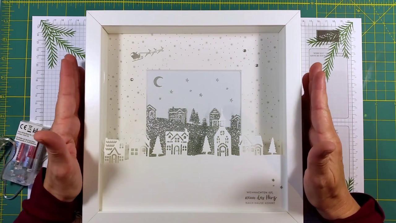 Bilderrahmen mit Beleuchtung- 2.Idee mit dem Winterstädtchen von ...