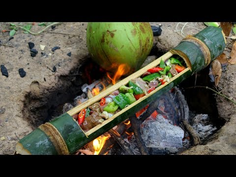 How to primitive Cooking Liver's Chicken in Bamboo – Factory village food | wilderness life
