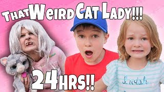 Скачать That Weird Cat Lady IN OUR HOUSE For 24hrs Part 1