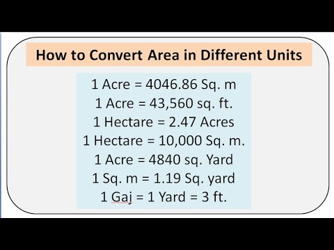 Area conversion || hectare || Acre || sq. m. || sq. ft. || Y