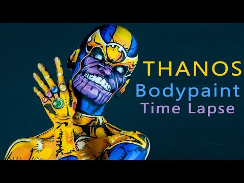 Time Lapse Video Of Body Painting Artist Transforming Herself Into Thanos