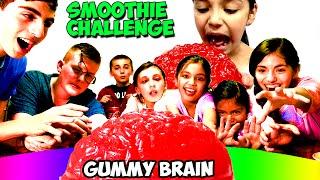 smoothie challenge   world s largest gummy brain will it blend   kidtoytesters