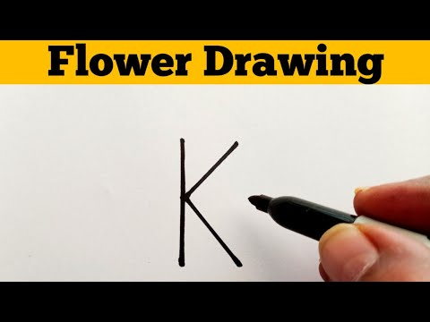 How To Draw Flower From Letter K || How To Draw A Beautiful Flower Easy Step By Step