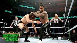 jimmy uso flips out on rowan wwe money in the bank 2019 kickoff match