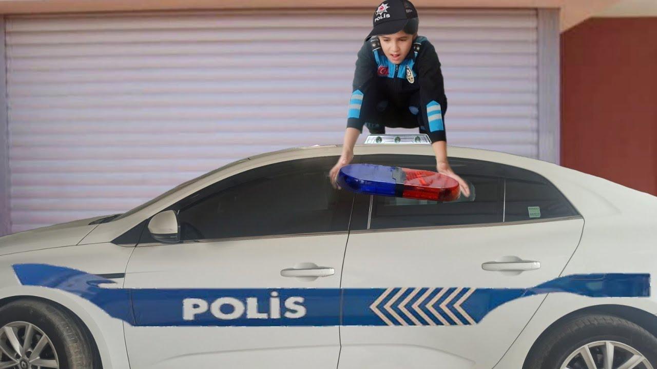 Melisa babasının arabasının üstüne çıktı | polis | polis arabası | polis sireni