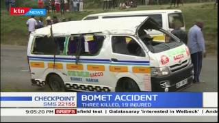 Three people die in grisly road accident involving overloaded matatu in Bomet