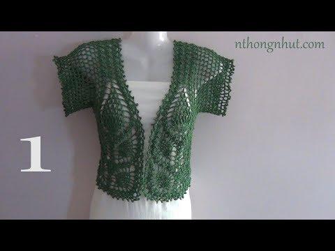 Crochet Bolero Tutorial (Eng Sub) I Hướng Dẫn Cách Móc áo Khoác Họa Tiết Trái Dâu Cho Nữ (1/2)