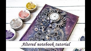 Altered notebook with Sculpture Medium and Finnabair waxes - mixed media tutorial