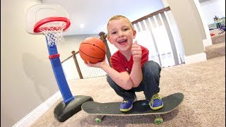 FATHER SON BASKETBALL SKATEBOARD TRICK SHOTS!