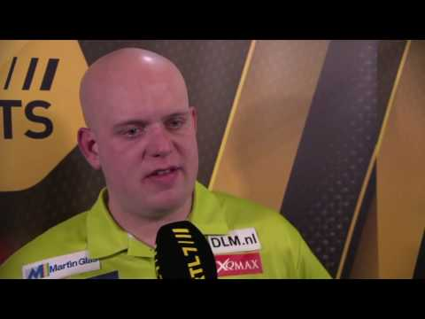 Michael van Gerwen and interviewer in tears after World Championship win