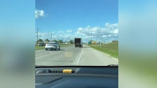 High-speed chase of a stolen box truck caught on camera in Manitoba