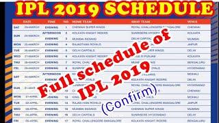 IPL 2019 Fixtures Official | Schedule, Venue , Date of IPL 2018 | Timetable Of IPL 2018 |