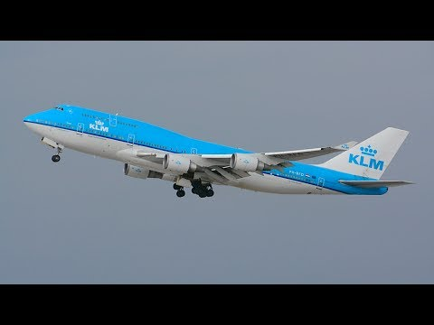 KLM Royal Dutch Airlines Boeing 747-400 Combi [PH-BFD] Departing LAX.