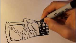 How to draw a Chocolate Bar|Step By Step|Candy|Cartoon|Easy