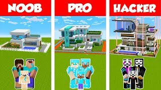 Minecraft Noob Vs Pro Vs Hacker Safest Family House Build Challenge In Minecraft  Animation