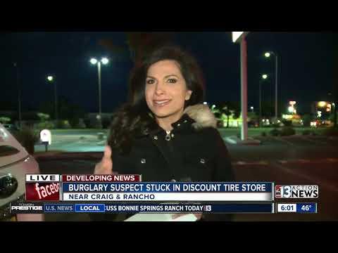 Burglary suspect stuck in Discount Tire store
