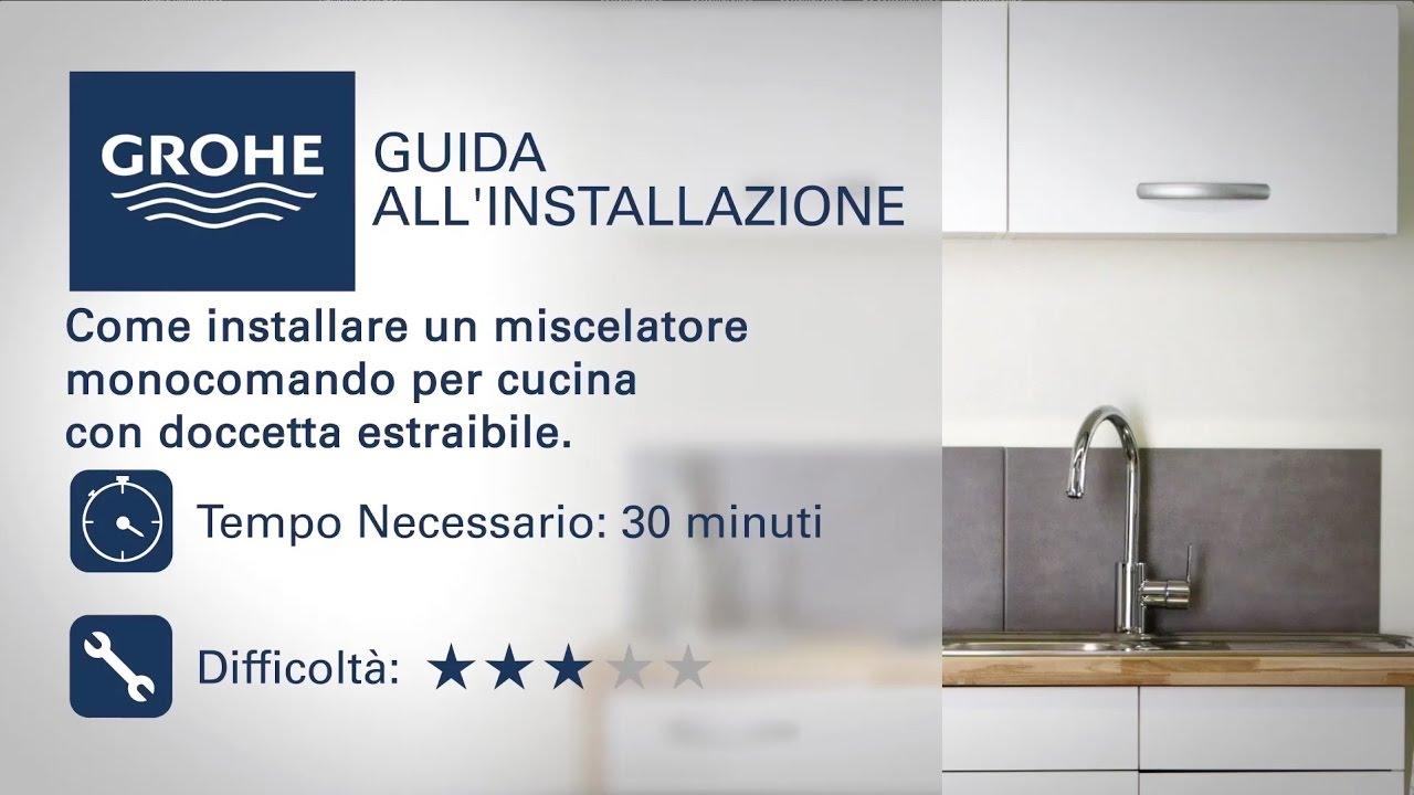 Rubinetto cucina Grohe con doccetta estraibile | Come si installa ...