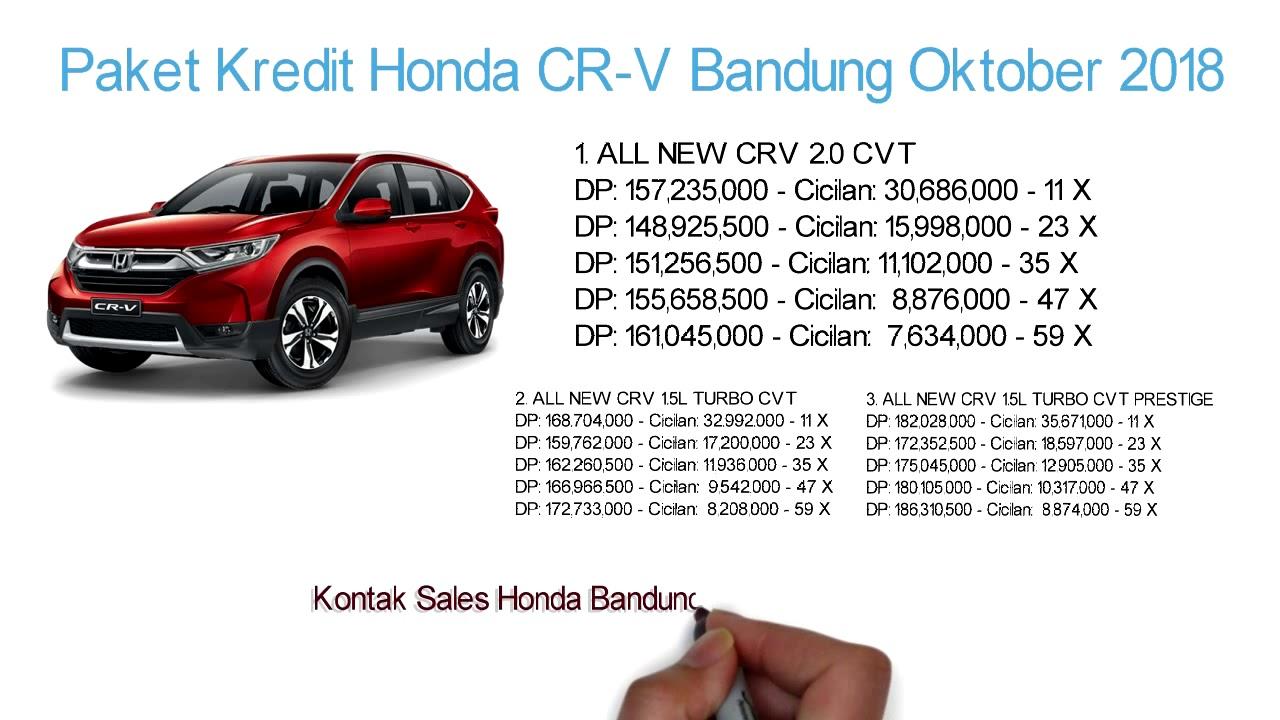 Tabel Kredit Honda Crv Bandung Dp Cicilan 2021 085317979293