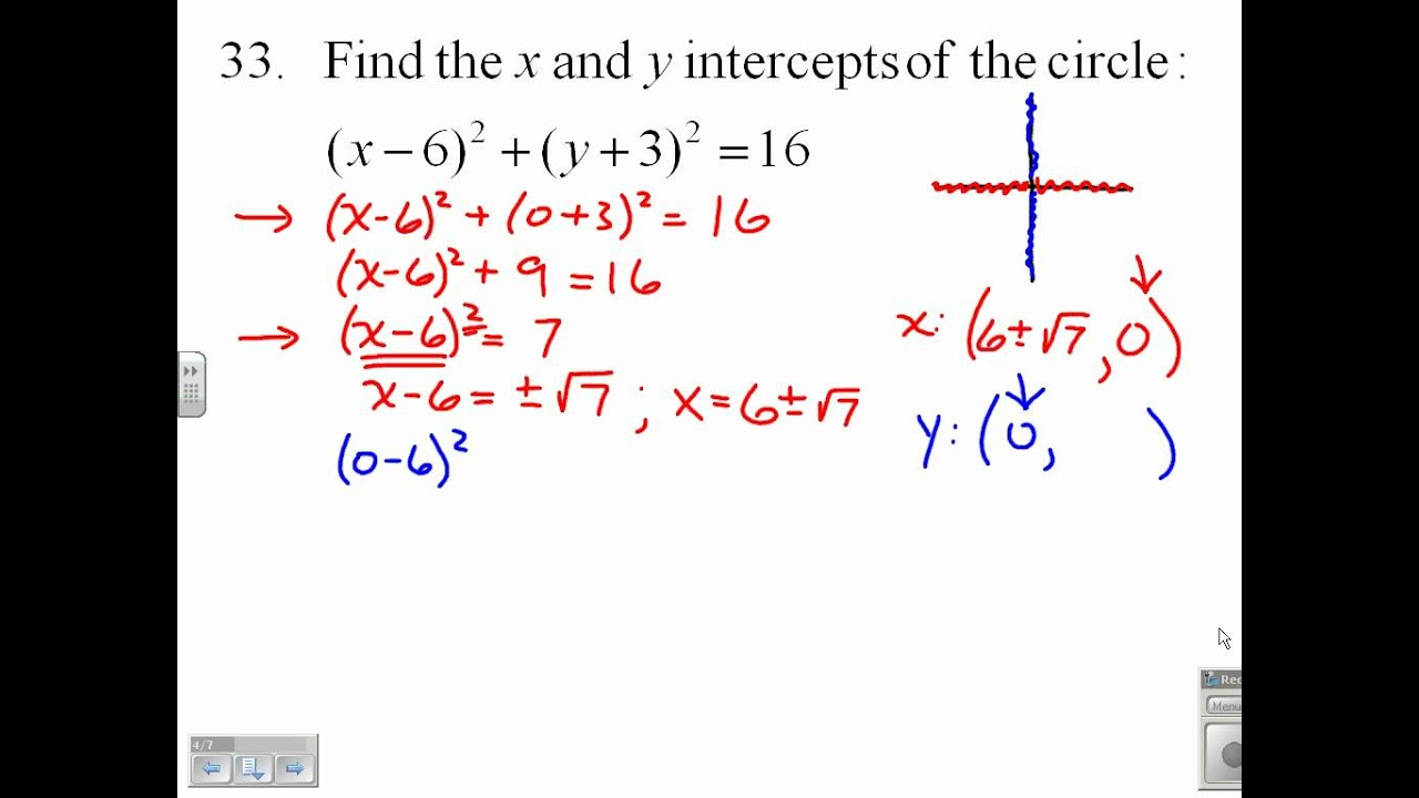 Find The X And Y Intercepts Of A Circle 9133