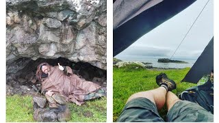 Camping In The Rain   Cave Camping   Wild Camping   Bushcraft Cooking   Campfire Cooking