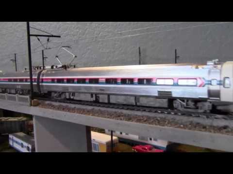 HO Model Railroad Walthers Amtrak Metroliner #830 and #863 under Catenary