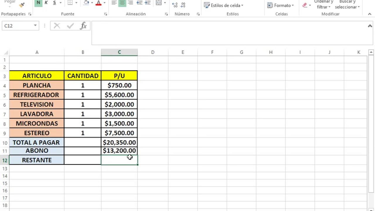 Formula Resta En Excel Youtube