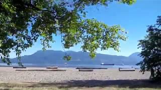 Vancouver BC Canada Beach Area - Spanish Banks to Jericho Beach - Mountains & Ocean