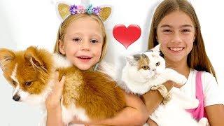 Nastya và Stacy trao đổi thú cưng của họ