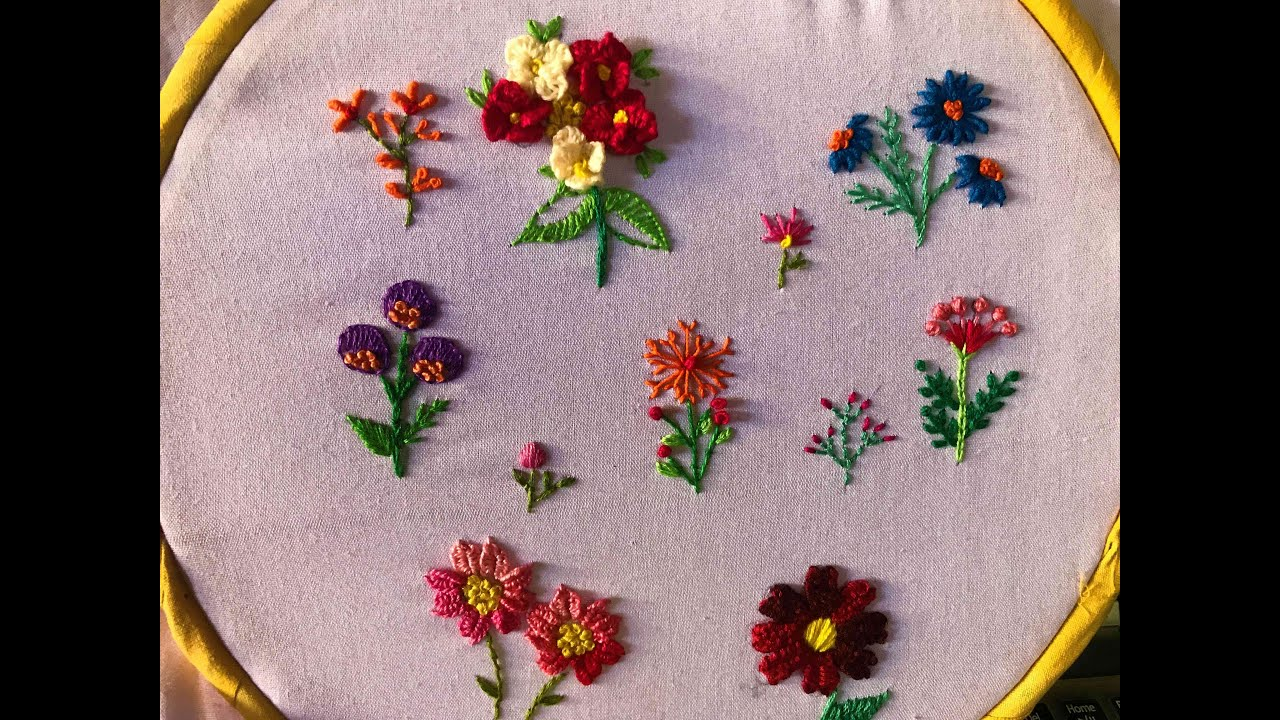 Hand Embroidery stitches for small designs Small embroidery flowers for  beginners.