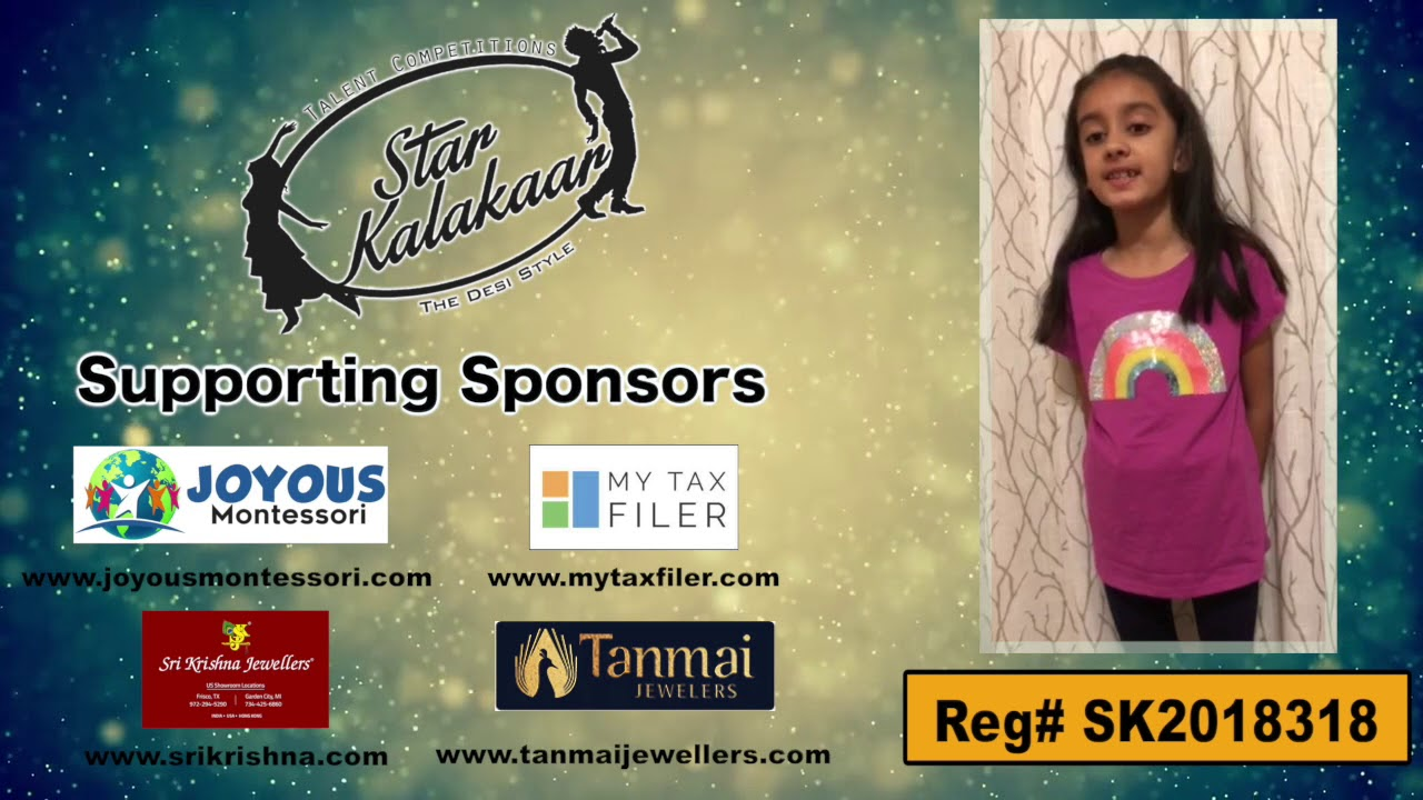 Participant Reg# SKP2018-318   -  US Star Kalakaar 2018