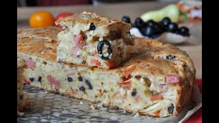 Ленивая пицца или пирог с начинкой очень простой и вкусный рецепт
