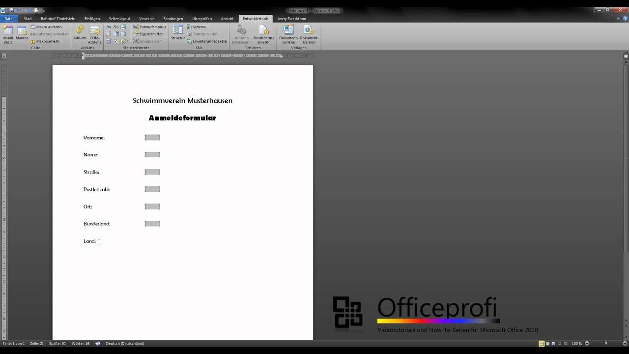 Microsoft Office Word 2010 - Formulare erstellen - Teil 1 - YouTube