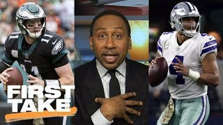Stephen A. Smith gets fired up debating Carson Wentz vs. Dak Prescott | First Take | ESPN