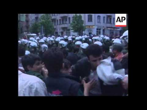 GERMANY: BERLIN: MAY DAY PROTESTORS CLASH WITH RIOT POLICE
