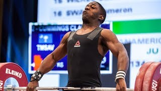 CJ Cummings competing at the 2017 Senior World Weightlifting Championships