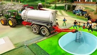 RC TRACTOR ACTION - A new Swimming Pool on the farm / rc toy fun